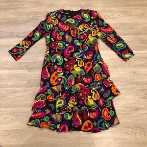Vintage Louis Feraud Silk Paisley Ruffle Dress 14